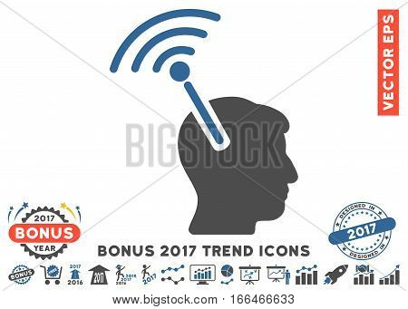 Cobalt And Gray Radio Neural Interface pictograph with bonus 2017 trend icon set. Vector illustration style is flat iconic bicolor symbols, white background.
