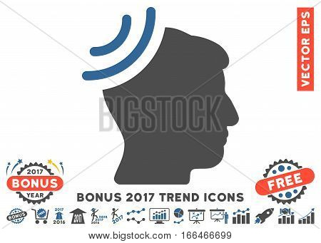 Cobalt And Gray Radio Reception Brain pictograph with bonus 2017 trend design elements. Vector illustration style is flat iconic bicolor symbols, white background.
