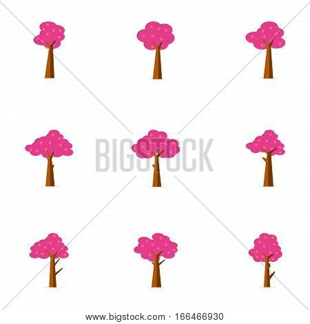 Set of tree decoration vector flat collection stock