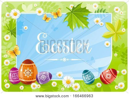 Happy Easter banner border. Spring scene, green grass, butterfly, sky, rainbow egg, leaf. Springtime nature. Paper sheet copyspace. Vector illustration. Flat greeting card background. Text lettering