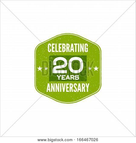 Celebrating 20 years anniversary badge, sign and emblem. Retro design. Easy to edit and use your number, text. Vector illustration isolate on white background.