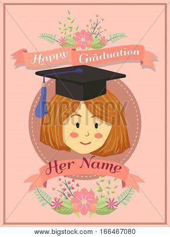 Happy Graduation greeting card woman girl using mortar board on pink background.