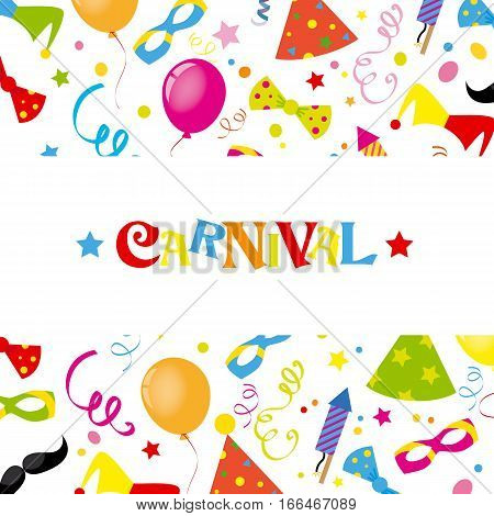 Happy carnival card. Background with party accessories