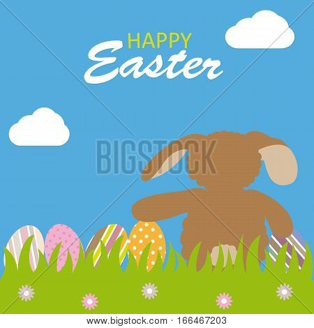 Happy easter card. Rabbit sitting with easter eggs