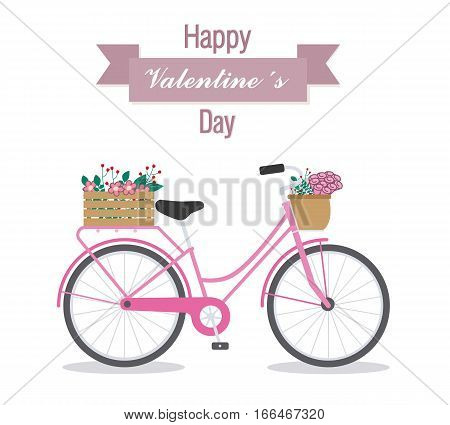 Great card for Valentine's Day. Cute bike with flowers