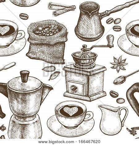 Coffee pot coffee grinder coffee cups donuts Turkish ibrik jug of milk. Seamless vector pattern. Black and white art illustration. Vintage. Kitchen design for textiles paper packaging wrapping