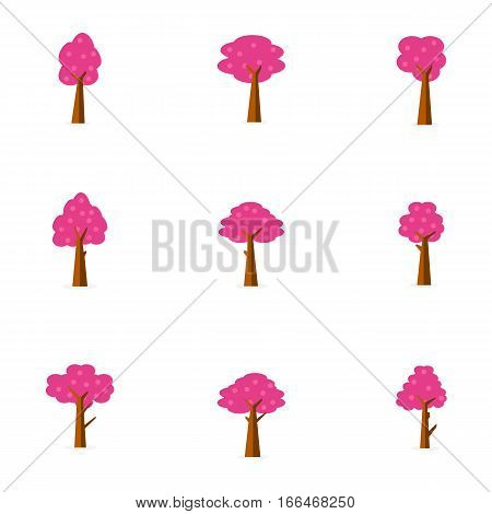 Illustration vector of tree set collection stock