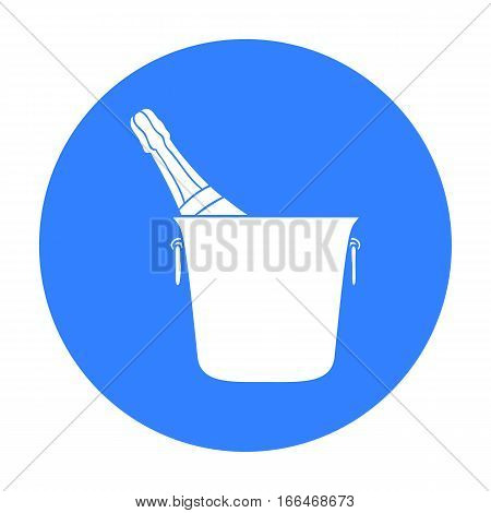Bottle of champagne in an ice bucket icon in  blue  style isolated on white background. Restaurant symbol vector illustration. - stock vector