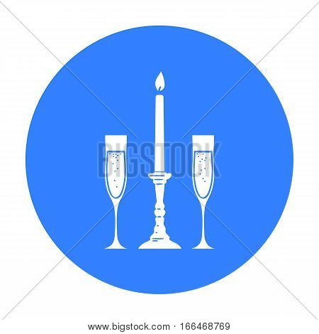 Candle between glasses with champagne icon in  blue  style isolated on white background. Restaurant symbol vector illustration. - stock vector