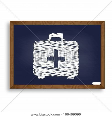 Medical First Aid Box Sign. White Chalk Icon On Blue School Boar