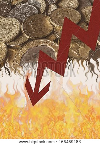 British pound coins melting over flames with arrow