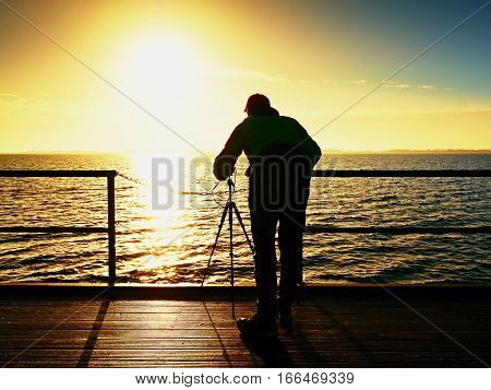 Professional Photograph At Sea. Tourist  On Wharf Photograph