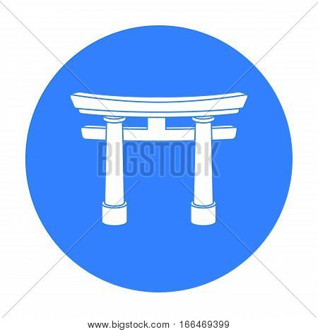 Torii icon in blue style isolated on white background. Religion symbol vector illustration. - stock vector