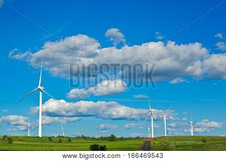 Eco sustainable friendly power generation wind power generator on the prairie