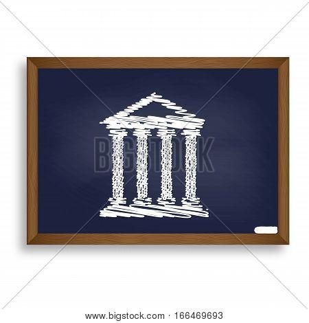 Historical Building Illustration. White Chalk Icon On Blue Schoo