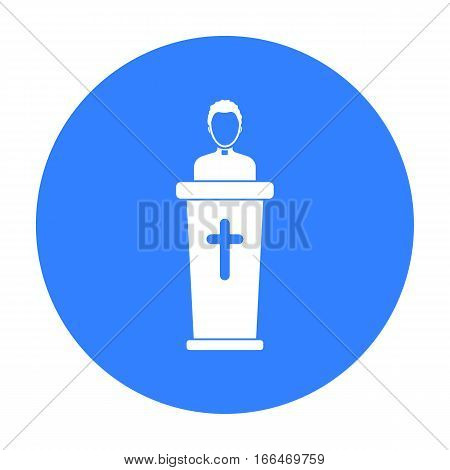 Priest icon in blue style isolated on white background. Religion symbol vector illustration. - stock vector