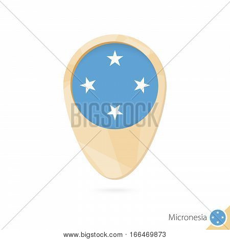Map Pointer With Flag Of Micronesia. Orange Abstract Map Icon.