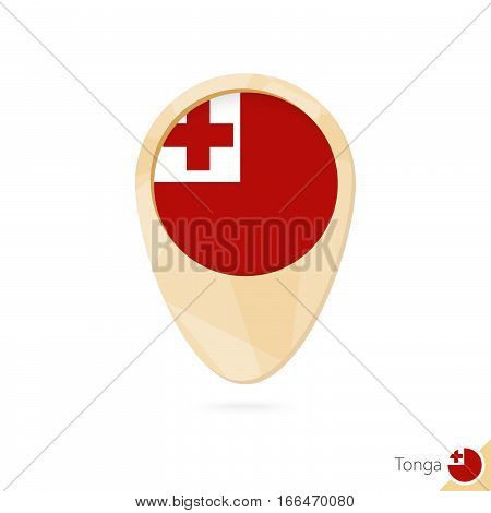 Map Pointer With Flag Of Tonga. Orange Abstract Map Icon.