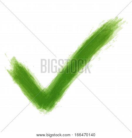 Green Check Mark Sign Watercolor Texture