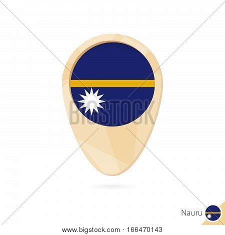 Map Pointer With Flag Of Nauru. Orange Abstract Map Icon.