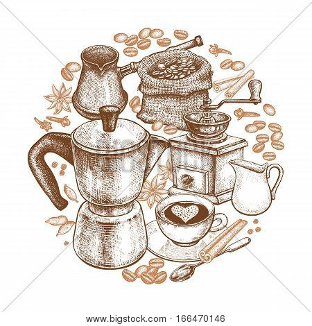 Kitchen implements for cooking coffee. Vintage hand drawing. Composition in a circle. Coffeepot Turkish cezve coffee-grinder cup milk jug dessert spoon coffee beans spices. Vector illustration
