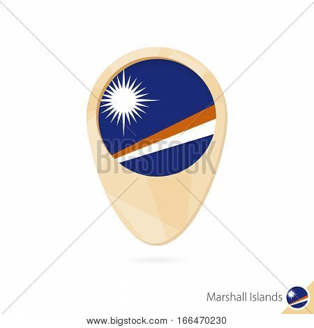 Map Pointer With Flag Of Marshall Islands. Orange Abstract Map Icon.