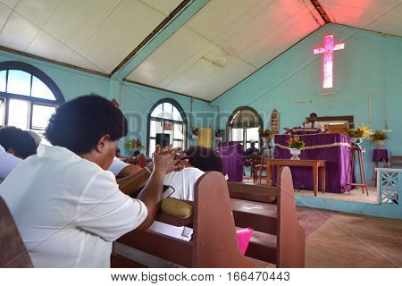 FIJI - DEC 18 2016:Sunday service in Methodist Church in Fiji. The Methodist Church of Fiji and Rotuma It is the largest Christian denomination in Fiji about 36 percent of the total population.