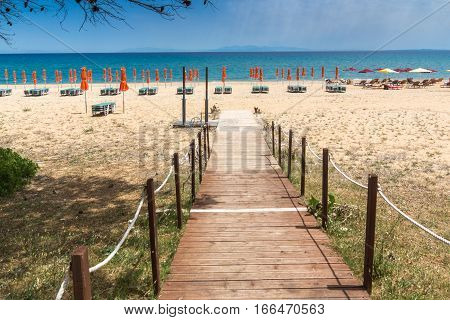 Panorama of Scala beach in Kefalonia, Ionian Islands, Greece