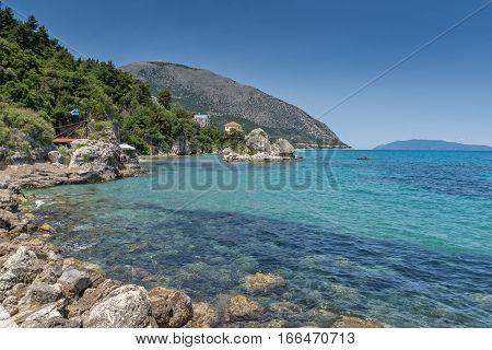 beach of town of Poros, Kefalonia, Ionian Islands, Greece