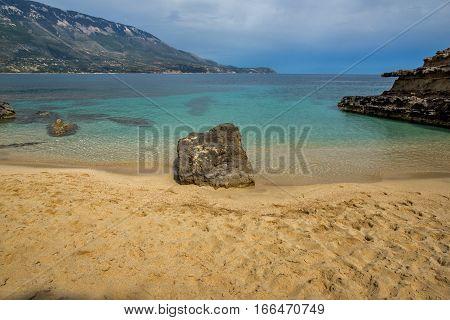 Amazing panorama of Pesada beach, Kefalonia, Ionian islands, Greece