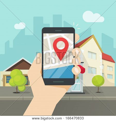 Mobile phone city map geo location, hand with smartphone gps navigator town map and pin pointer, roadmap street direction, idea of quest game route, person found location among buildings vector