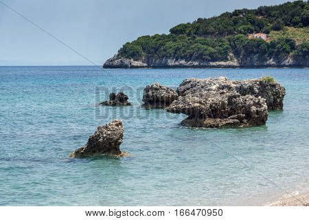 Small beach with blue waters in Kefalonia, Ionian Islands, Greece