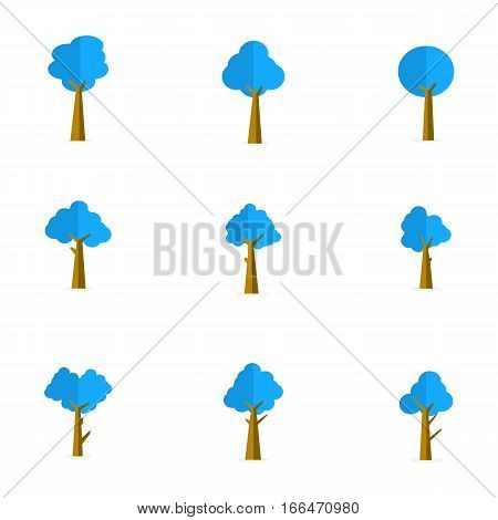 Blue tree of set vector collection stock