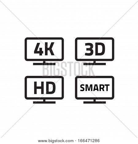 Ultra hd 4k tv format, full hd television icons set line outline style, 3d video emblem label for lcd or led smart tv icon, isolated on white