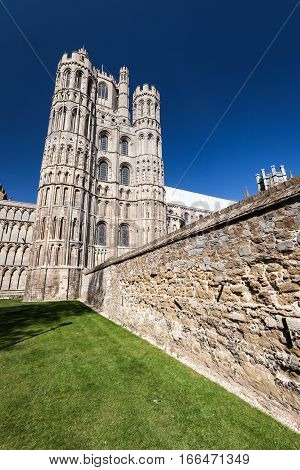 A wide-angle view of the historic cathedral in the Fenland city of Ely Cambridgeshire UK.