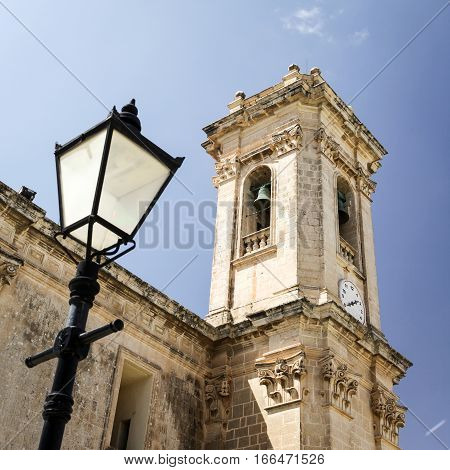 Detail of one of the towers outside the Rotunda of St Marija Assunta a key landmark in the town of Mosta Malta.