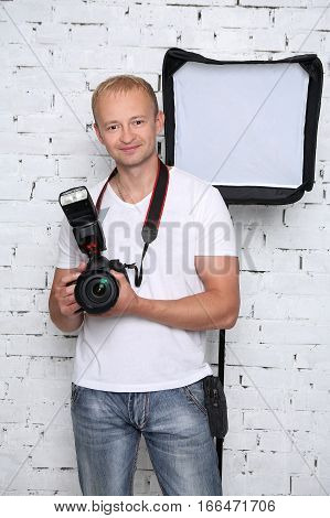 The photographer with his equipment for photography