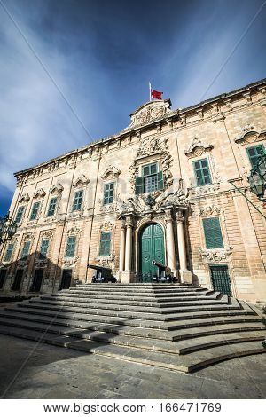 Located in Castille Square the Maltese landmark is the office of the Prime Minister of Malta. It was originally one of the seven auberges built in Valletta for the langues of the Order of St. John.