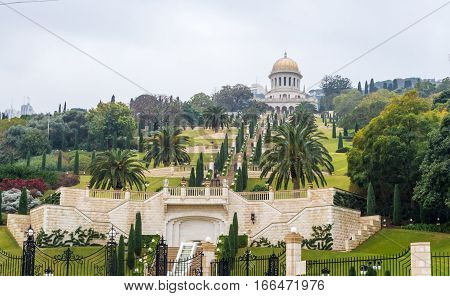 HAIFA ISRAEL - DECEMBER 16: View of the Bahai gardens and Shrine of the Bab on Mount Carmel in Haifa Israel on December 16 2016