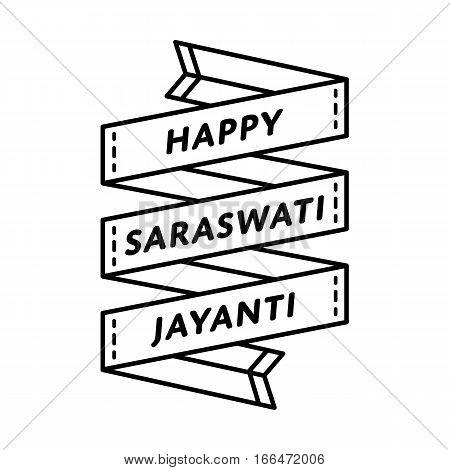 Happy Saraswati Jayanti emblem isolated vector illustration on white background. 1 february indian religious holiday event label, greeting card decoration element