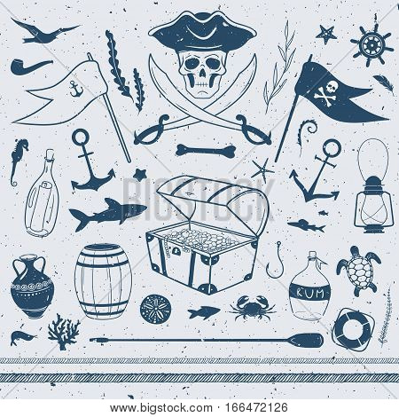 pirate theme nautical illustrations, vector set with pirate, flags, treasure box, shark, starfish, lamp, letter in a bottle and other