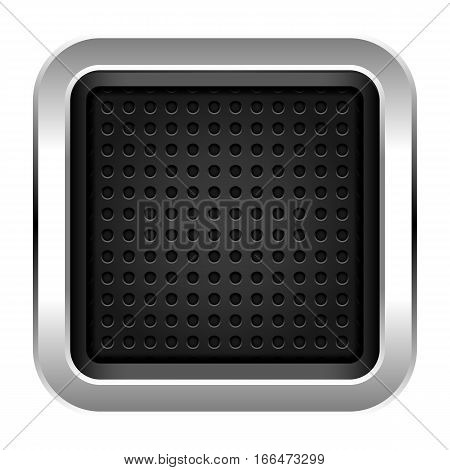 Square Empty Chrome Metal Icon With Perforation Texture