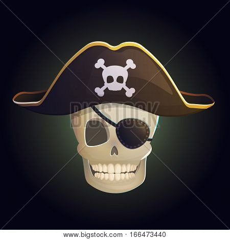 Illustration of a spooky smiling human pirate ghost skull in a pirate hat with bones and eye patch on eye.