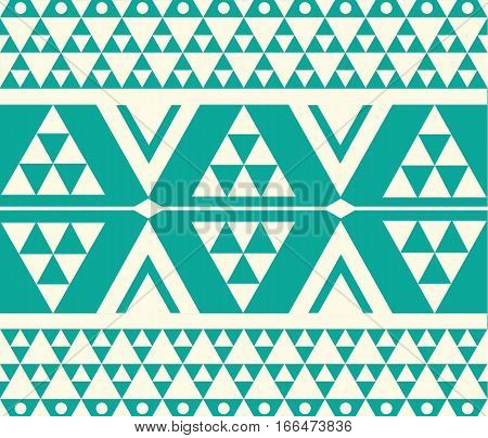 Vector Tribal Teal and White Ethnic Pattern Illustration