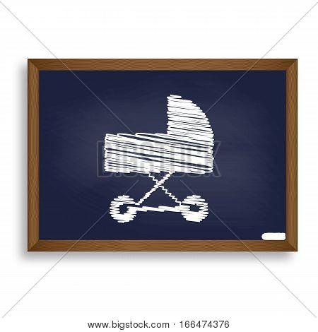 Pram Sign Illustration. White Chalk Icon On Blue School Board Wi