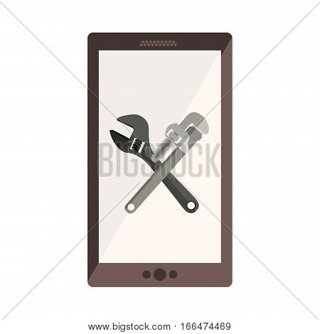 monochrome cellphone with crossed wrenches in display