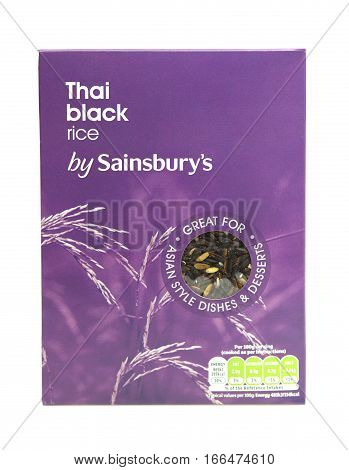 SWINDON UK - JANUARY 24 2017: Thai Black Rice packet on a white background.