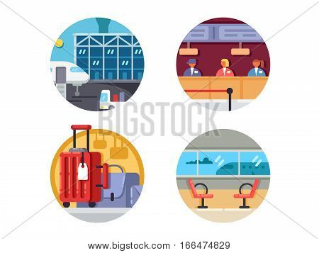 Airport icon set. Check-in and waiting for aircraft to terminal. Vector illustration. Pixel perfect icons size - 128 px