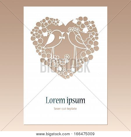 Card with openwork heart with two birds and space for text. Laser cutting template for greeting cards envelopes wedding invitations decorative elements.