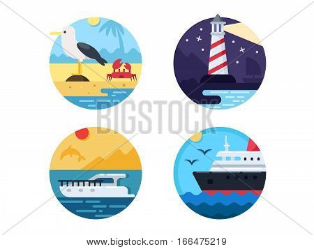 Sea travel set. Swim on yacht or cruise ship. Vector illustration. Pixel perfect icons size - 128 px